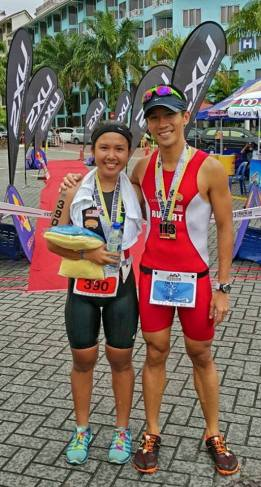 Podium win with my tri student Aimi Iwasaki. She went on to win 5 podiums in a row for triathlon