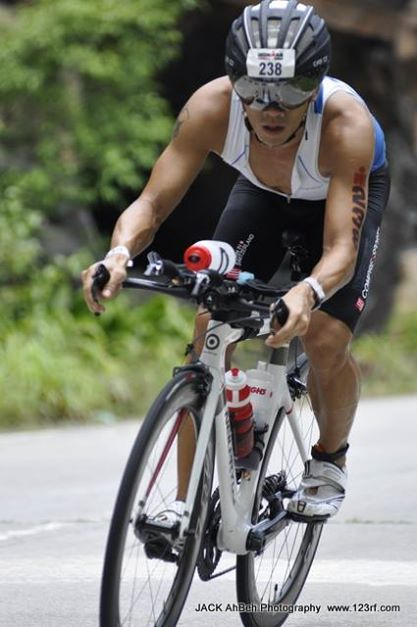 Riding hard during Ironman Langkawi 2014, enroute to finishing as 3rd fastest Malaysian - Photo credit Jack Ah Beh