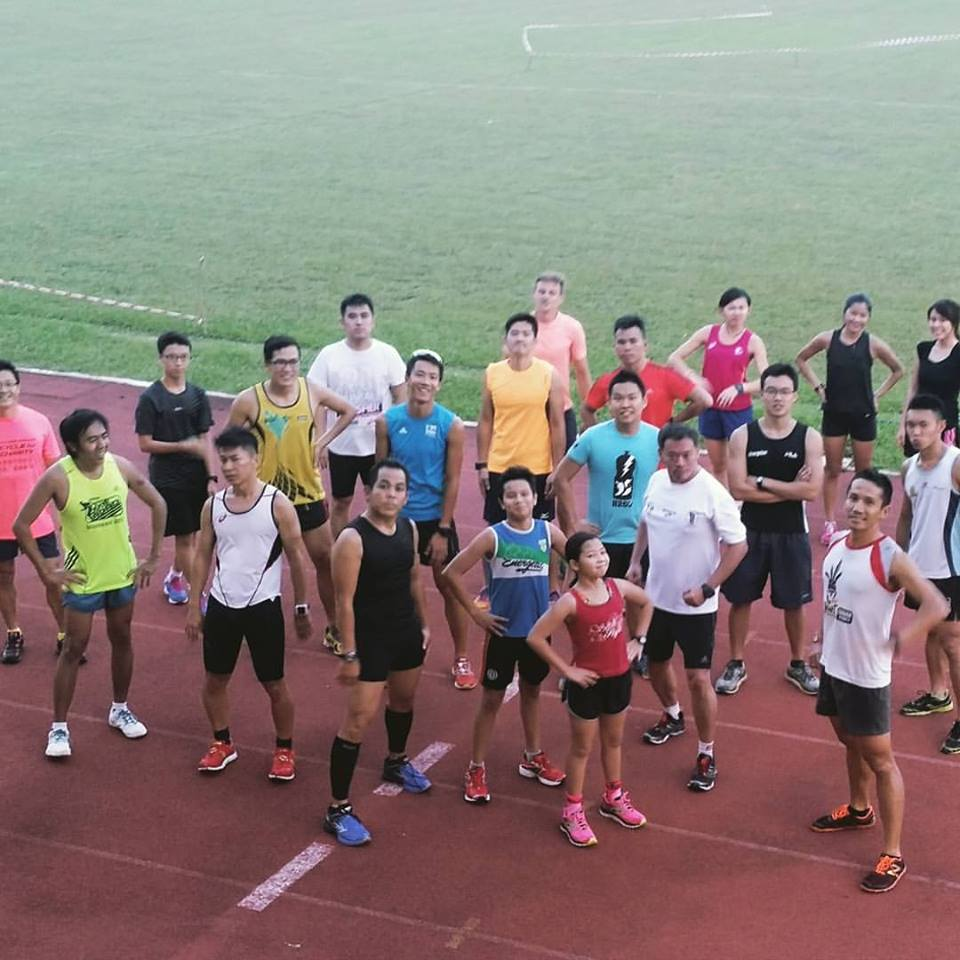 Weekly swim and track running session
